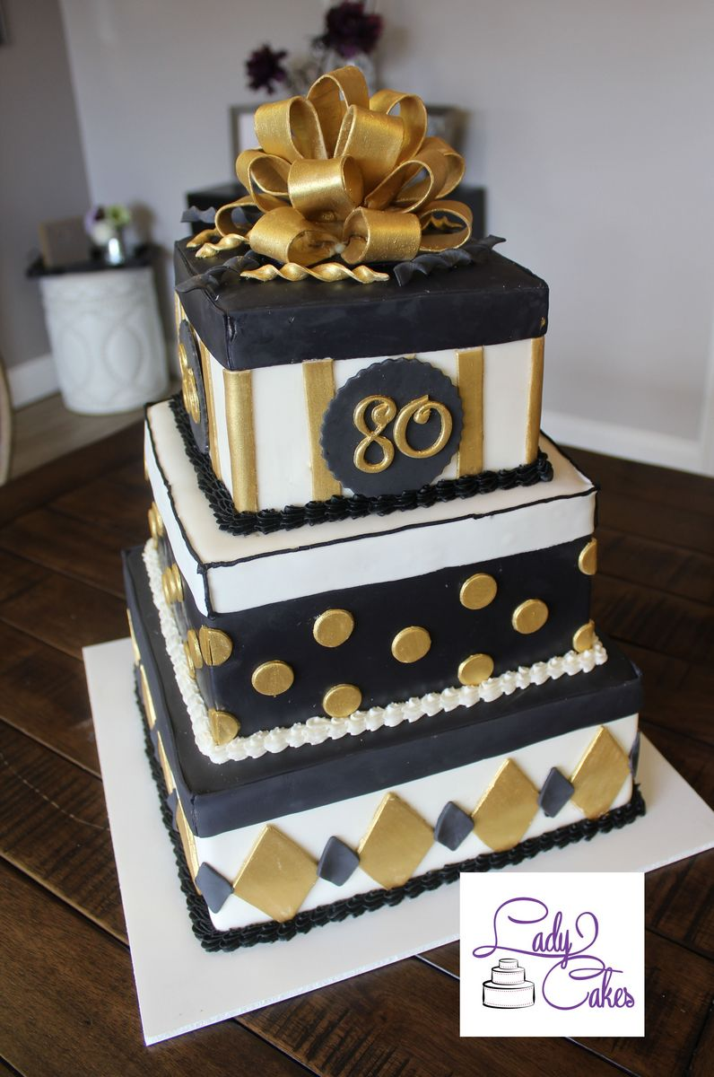Black And Gold 80th Birthday Cake