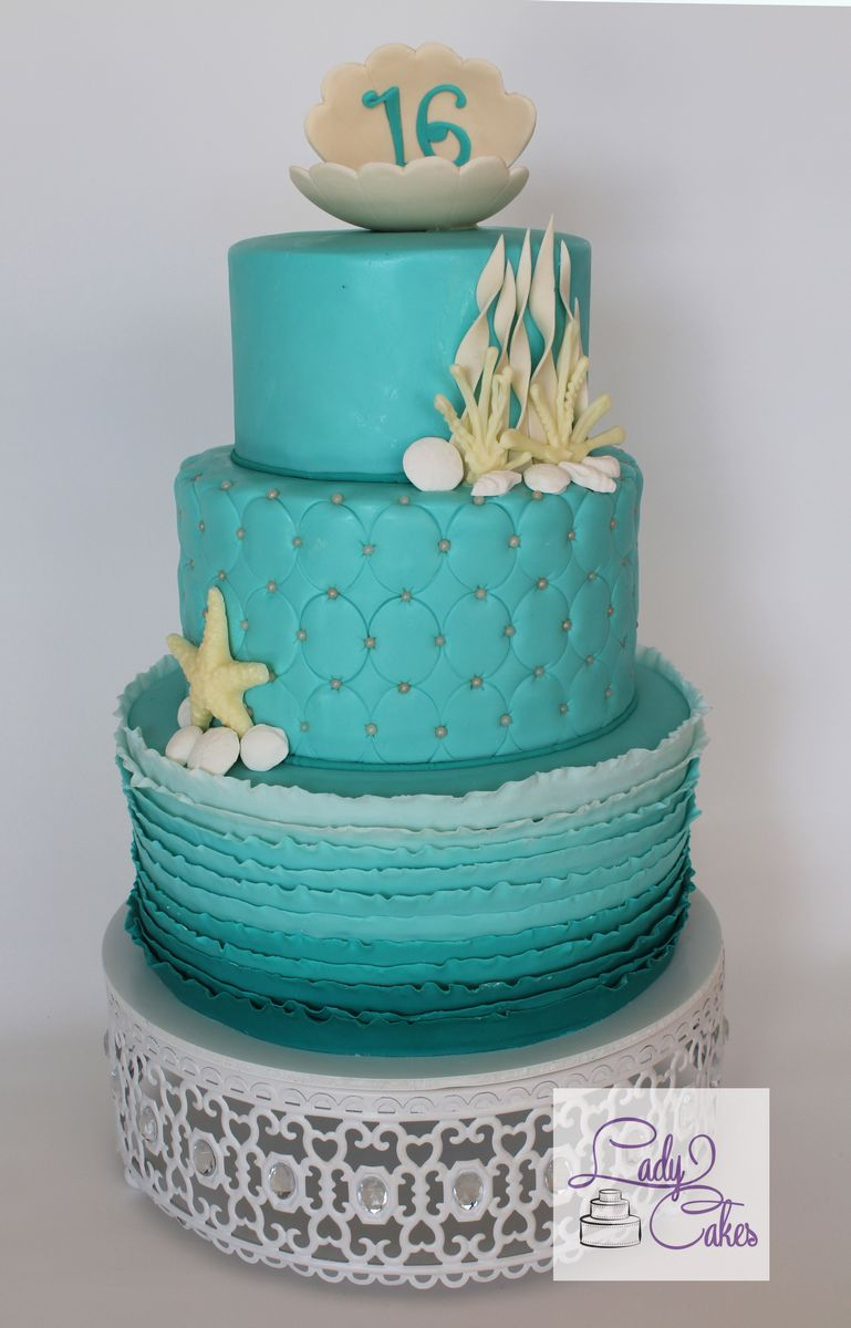 Teal Beach Themed Sweet 16 Cake Ladycakes Bakery